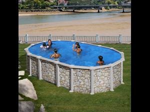 Ovalada 610 x 375 x 132 cm kitprov6188p con sistema de for Liner piscine transparent